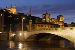 Blue hour on Fourviere hill and cathedral Stock Photos