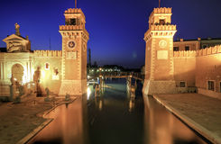 Blue hour at the gates of the Arsenale Royalty Free Stock Photos