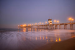 Blue Hour Huntington Pier. Predawn shot on Huntington Pier along Huntington Beach in southern California Stock Images