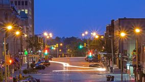 Blue Hour Image of a Downtown Guelph, Ontario Street. Looking east at McDonnell Street in Guelph, Ontario, Canada in the blue hour light before the sunrise Royalty Free Stock Photo