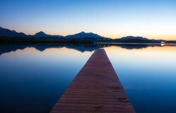 Blue Hour at Lake Hopfen Royalty Free Stock Photo