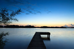 Blue hour at a lake Stock Photo
