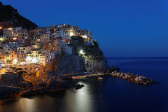 Blue hour on Manarola Stock Images