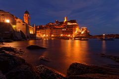 Blue hour on the marina of Vernazza Stock Images