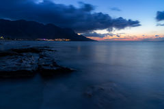 Blue hour at the Mediterranean sea Stock Photos