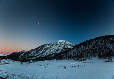 Blue hour in montgenevre Royalty Free Stock Image