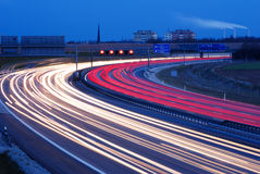 Blue hour at munich. Evening highway traffic Stock Photography