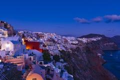 BLUE HOUR IN OIA, SANTORINI. ISLAND GREECE stock images