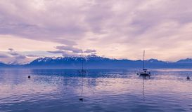 Blue hour over the Leman lake. Blue hour over the lake Leman. City of Lausanne, Switzerland Stock Photo