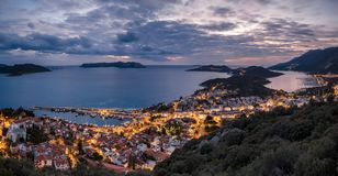 Blue hour panoramic view of the small town of Kas, Turkey royalty free stock photo