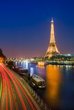 Blue Hour in Paris with the Eiffeltower Stock Photos