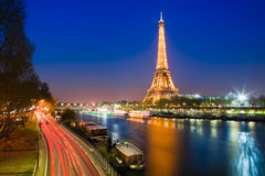 Blue Hour in Paris with the Eiffeltower Royalty Free Stock Image