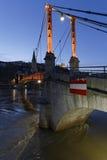 Blue hour on pedestrian bridge Stock Photo