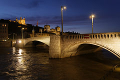 Blue hour on Pont Bonaparte in Lyon city center Stock Photos