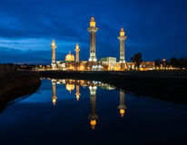 Blue Hour And Reflection Of Mosque. The Blue Hour Sunset And Reflection Of Mosque At Lakeside Stock Photo