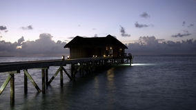 Blue hour - Restaurant on a tropical island Stock Images