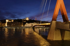 Blue hour on Saone river and Fourviere hill Stock Photography