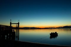 Blue hour on Sidney Island. Beautiful light after sunset on Sidney Island, Vancouver Island, British Columbia, Canada Royalty Free Stock Images