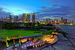 Blue Hour at Singapore Marina Barrage royalty free stock image