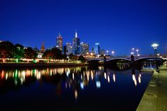 Blue hour at Southbank, Yarra River, Melbourne. During the evening blue hour at Southbank, Yarra River, Melbourne Royalty Free Stock Photography