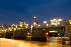 Blue hour at the Southwark Bridge Royalty Free Stock Images