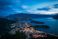Queenstown City Lights, New Zealand Stock Photos