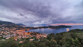 Blue hour st jean cap ferrat. France Stock Photography