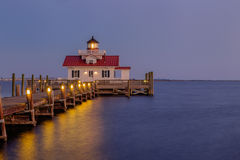 Blue hour at sunset over the Roanoke Marsh Lighthouse in Manteo Stock Photos