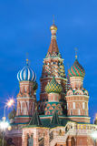 Blue hour sunset view of St. Basil Cathedral in Moscow Red Square. World famous Russian Moscow landmark. Tourism and travel concep. T Stock Photo
