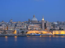 Blue Hour Valletta, Malta. A view of Valletta, Malta, at dusk, showing the Anglican Cathedral in the centre of the frame stock photography