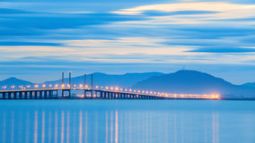 Blue hour view of Penang Bridge and Bukit Mertajam. Beautiful landscape series of sunrise and sunset collection from George Town, Penang, Malaysia Stock Image