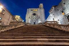 Cathedral in Girona, Spain. Blue hour view of the stunning cathedral in Girona, Spain stock photos