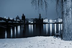 Blue hour by Vltava river. Waiting for a sunrise on the bank of Vltava river in Prague Royalty Free Stock Photo