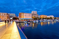 Blue hour Zadar waterfront view Stock Photography