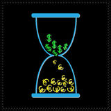 Blue hourglass with dollar and euro money signs. Black background Royalty Free Stock Images