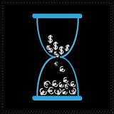 Blue hourglass with dollar and euro money signs. Black background Stock Photography