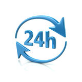 Blue 24 hours icon. 3d illustration of blue 24 hours icon Stock Photo