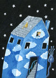 Blue house. Acrylic Illustration of blue house with cloudy facade Stock Photo