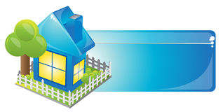 Blue house. Internet homepage symbol - detailed icon of simple blue house Stock Image