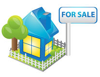 Blue house. Internet homepage symbol - detailed icon of simple blue house Stock Images