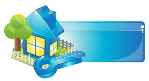 Blue house. Internet homepage symbol - detailed icon of simple blue house Stock Photo