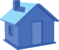 Blue House. Blue 3d  House isolated on white Royalty Free Stock Photo