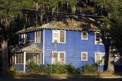 Blue house. The blue house surrounded by trees Royalty Free Stock Photos