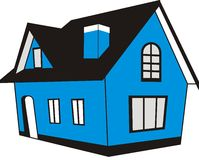 Blue House. A simple american blue house Royalty Free Stock Photos