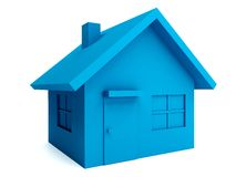 Blue house in 3D Royalty Free Stock Photography