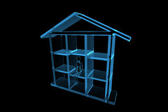 Blue house 3D xray blue Stock Photography