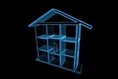 Blue house 3D xray blue. Transparent Stock Photography