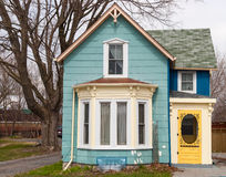 Blue house with bay window Royalty Free Stock Photo