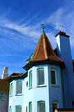 Blue house blue sky. Nice blue house at blue sky background in Deal town Kent, UK Royalty Free Stock Images