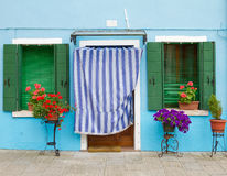 Blue house on Burano. Stock Photo